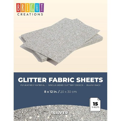 Bright Creations 15-Pack Glitter Fabric Sheets, Faux PU Leather for DIY Arts and Crafts, Silver, 8 x 12 in