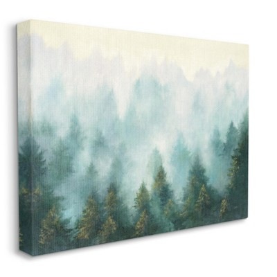 Stupell Industries Abstract Pine Forest Landscape with Mist Green Painting