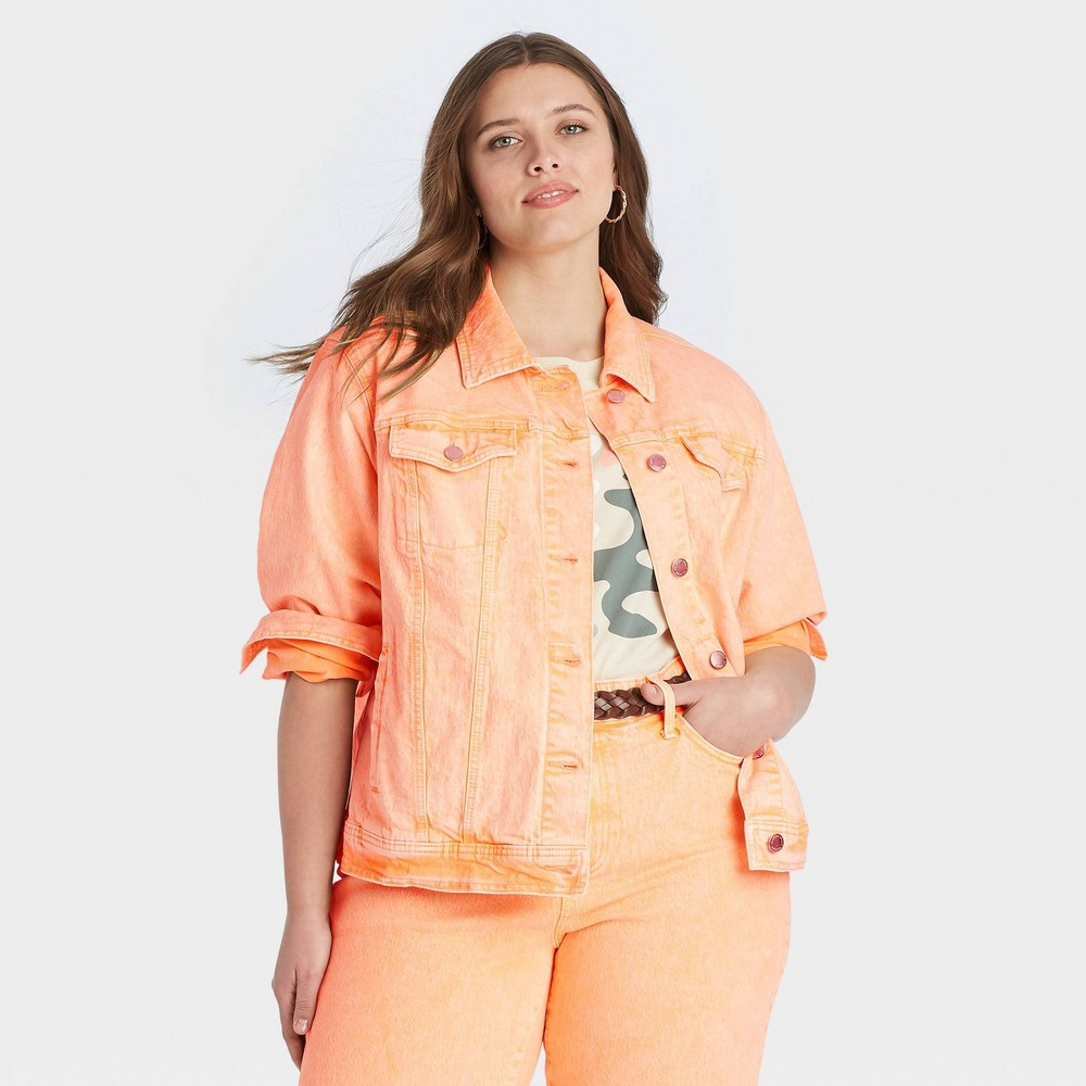 Women 39 S Plus Size Long Sleeve Denim Jacket Universal Thread 8482 Orange 1x