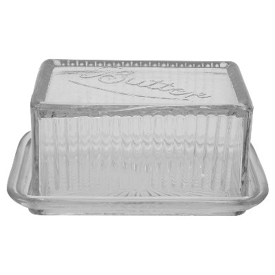 3R Studios Pressed Glass Butter Dish
