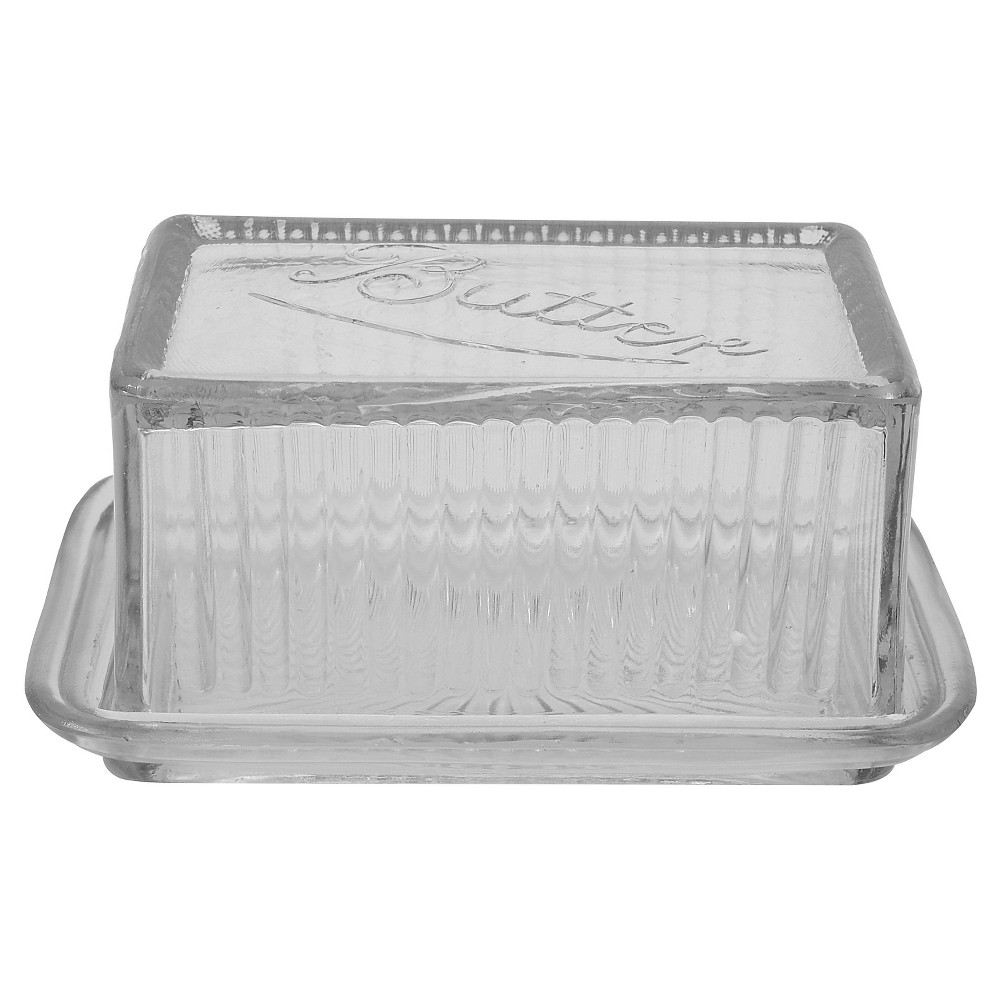 3R Studios Pressed Glass Butter Dish, Clear