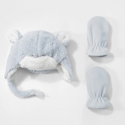 Baby Boys' Trapper Hat and Mitten Set - Cat & Jack™ Gray 9-12M