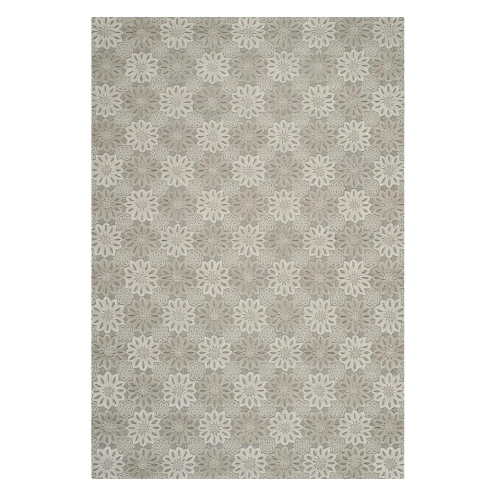 6'X9' Floral Area Rug Gray/Ivory - Safavieh
