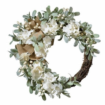 Haute Decor 24 Inch Indoor Outdoor Spring Floral Mix Natural Grapevine Wreath with Flowers, Lamb's Ear, White Berries, and Burlap Bow