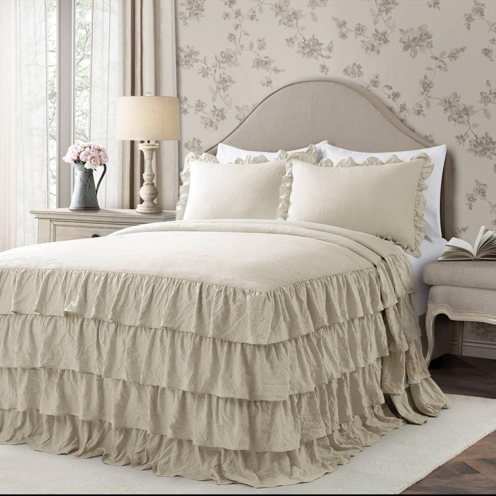Lush Decor Full 3pc Allison Ruffle Skirt Bedspread Set Neutral