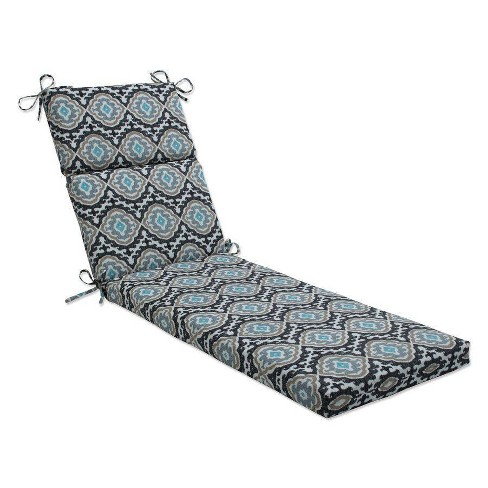 """72.5"""" x 21"""" Outdoor/Indoor Chaise Lounge Cushion Agrami Medallion Black - Pillow Perfect - image 1 of 1"""