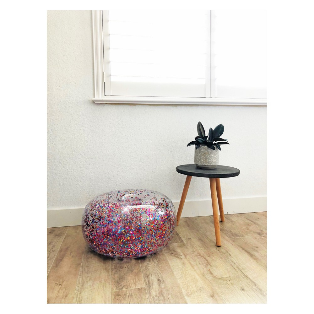 Image of Inflatable Glitter Ottoman - Air Candy, Multi-Colored