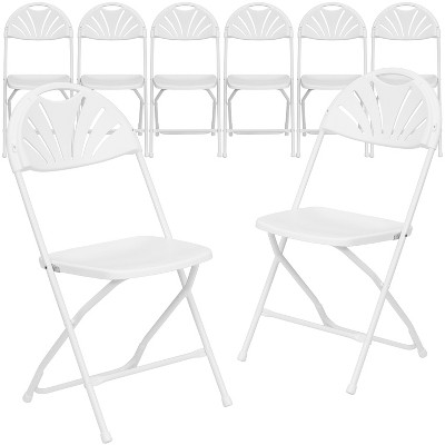 Emma and Oliver 8 Pack. 650 lb. Capacity Plastic Fan Back Folding Chair
