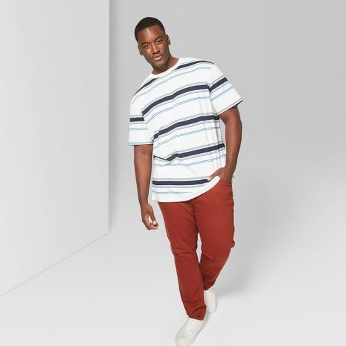 8397ef6c9 Men's Big & Tall Striped Regular Fit Short Sleeve Crew Neck Boxy T-Shirt - Original  Use™ White
