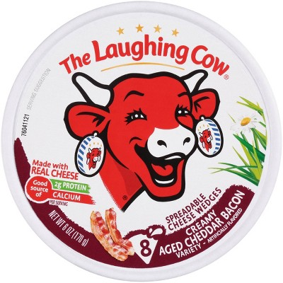 The Laughing Cow Aged Cheddar Bacon Spreadable Cheese Wedge - 6oz/8ct Wedges