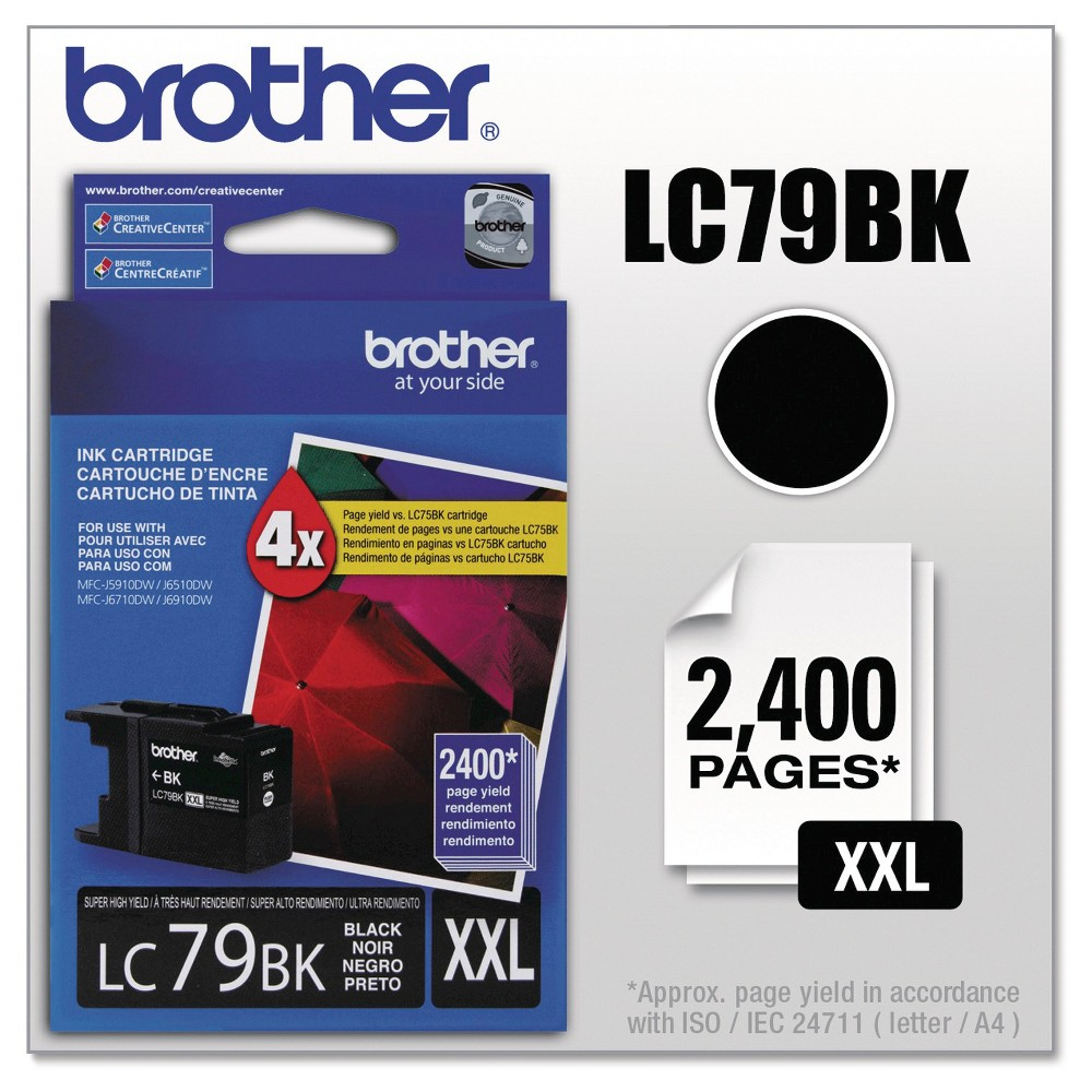 Brother Innobella Super High-Yield Single Ink Cartridge - Black (BRTLC79BK) Genuine Oem quality. Reliable and dependable so that you can count on it when you need it most. Integrates seamlessly with your printer for a quick and clean installation. Device Types: Inkjet Printer; Color(s): Black; Page-Yield: 2400; Supply Type: Ink.