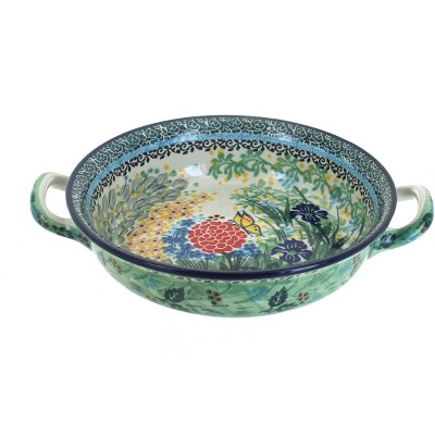 Blue Rose Polish Pottery Teresa Small Round Casserole with Handles