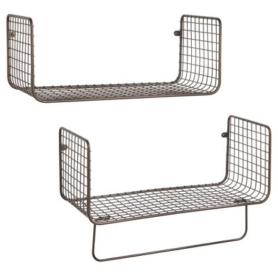 mDesign Bath Storage Organizer Shelving Set of 2 - 1 Shelf with Towel Bar