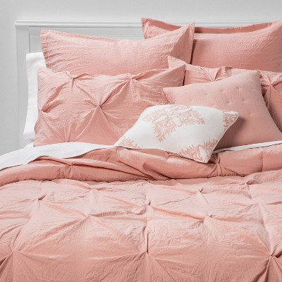 King 8pc Montvale Pinch Pleat Comforter Set Blush - Threshold™