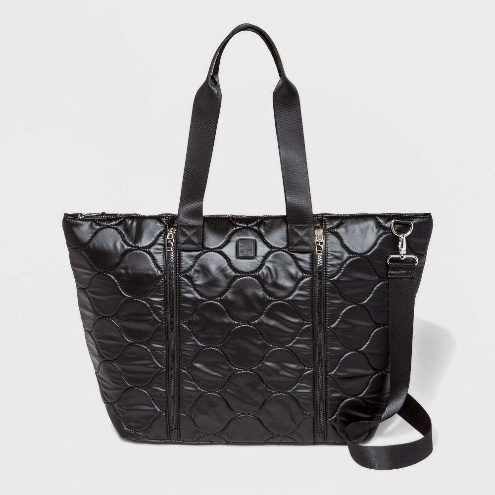 Image of Pearlized Onion Quilted Nylon Weekender Bag - JoyLab Black, Women's, Size: Small