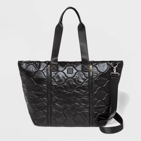 Pearlized Onion Quilted Nylon Weekender Bag - JoyLab™ Black - image 1 of 4