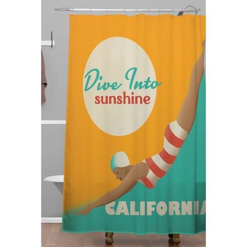 Dive California Shower Curtain Orange Teal