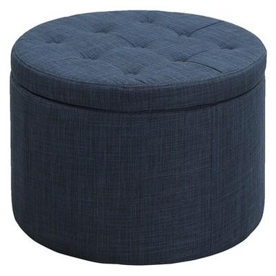 Designs4Comfort Round Shoe Storage Ottoman Blue - Johar Furniture