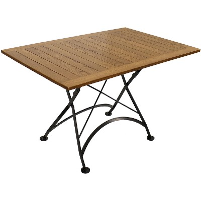"""Sunnydaze Indoor/Outdoor European Chestnut Wood Large Folding Patio Family Dining Table - 31"""" - Brown"""