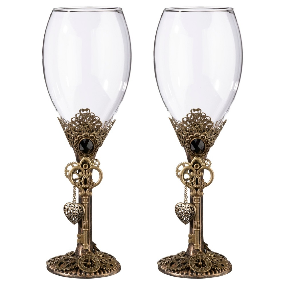 Image of 2ct Clear, Antique Bronze Steampunk Wine Glass Set