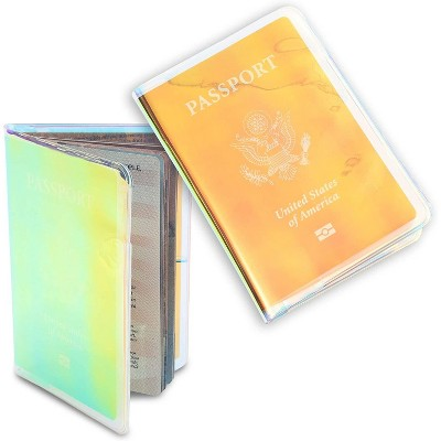 2-Pack Holographic Travel Passport Cover Case Holder with Card Slots, Iridescent Travel Accessories for Women