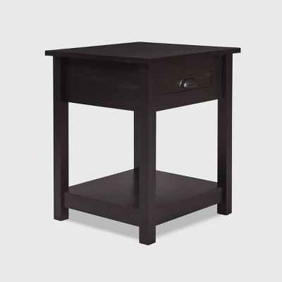 Wooden Nightstand with Drawer and Shelf - Click Decor
