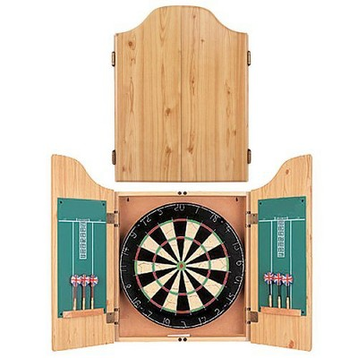 Bristle Dartboard with Wooden Cabinet