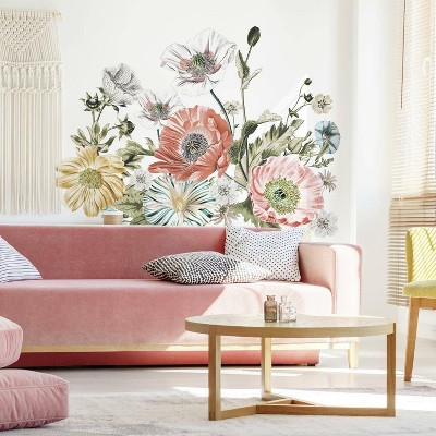 Vintage Poppy Floral Peel and Stick Giant Wall Decal - RoomMates
