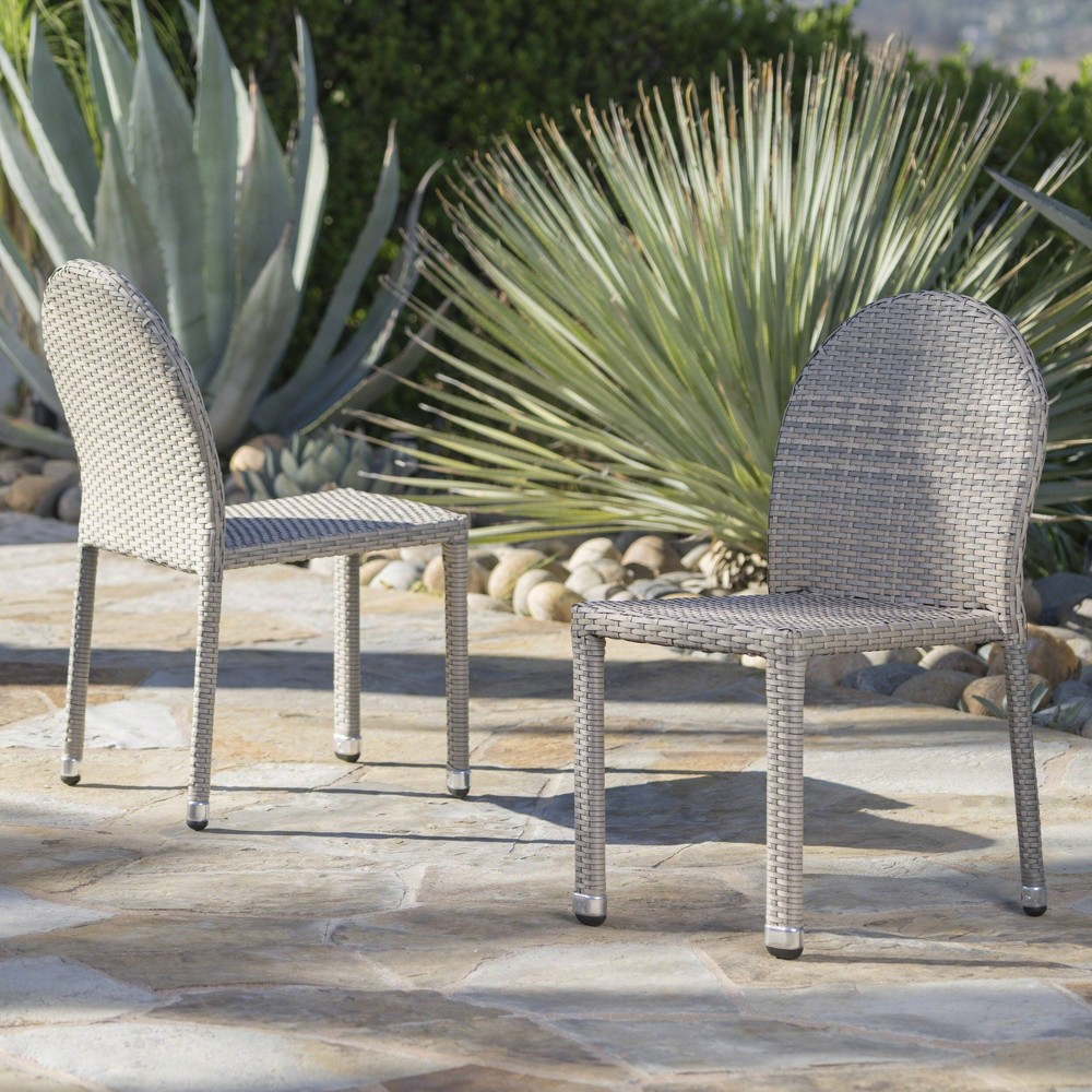 Aurora 2pk Wicker Stacking Chairs - Chateau Gray - Christopher Knight Home
