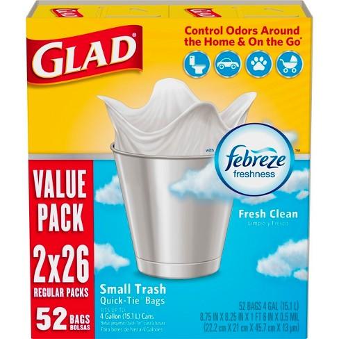 Glad Small Trash Bags + OdorShield White Trash Bags - 4 Gallon - 52ct - image 1 of 4