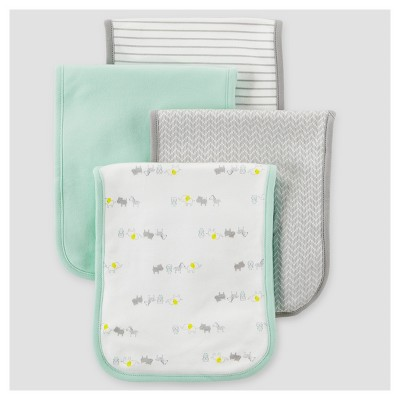 Baby 4pk Burp Cloth Set - Just One You™ Made by Carter's® Mint Animals