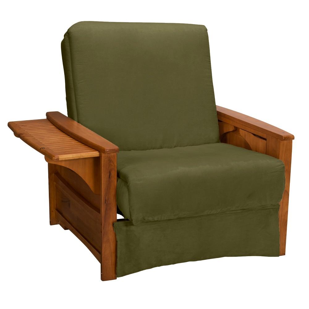 Brooklyn Perfect Futon Sofa Sleeper - Oak Wood Finish - Epic Furnishings, Green