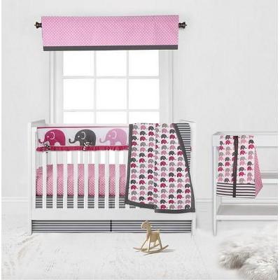 Bacati - Elephants Pink/Fuschia/Gray 6 pc Crib Bedding Set with Long Rail Guard Cover