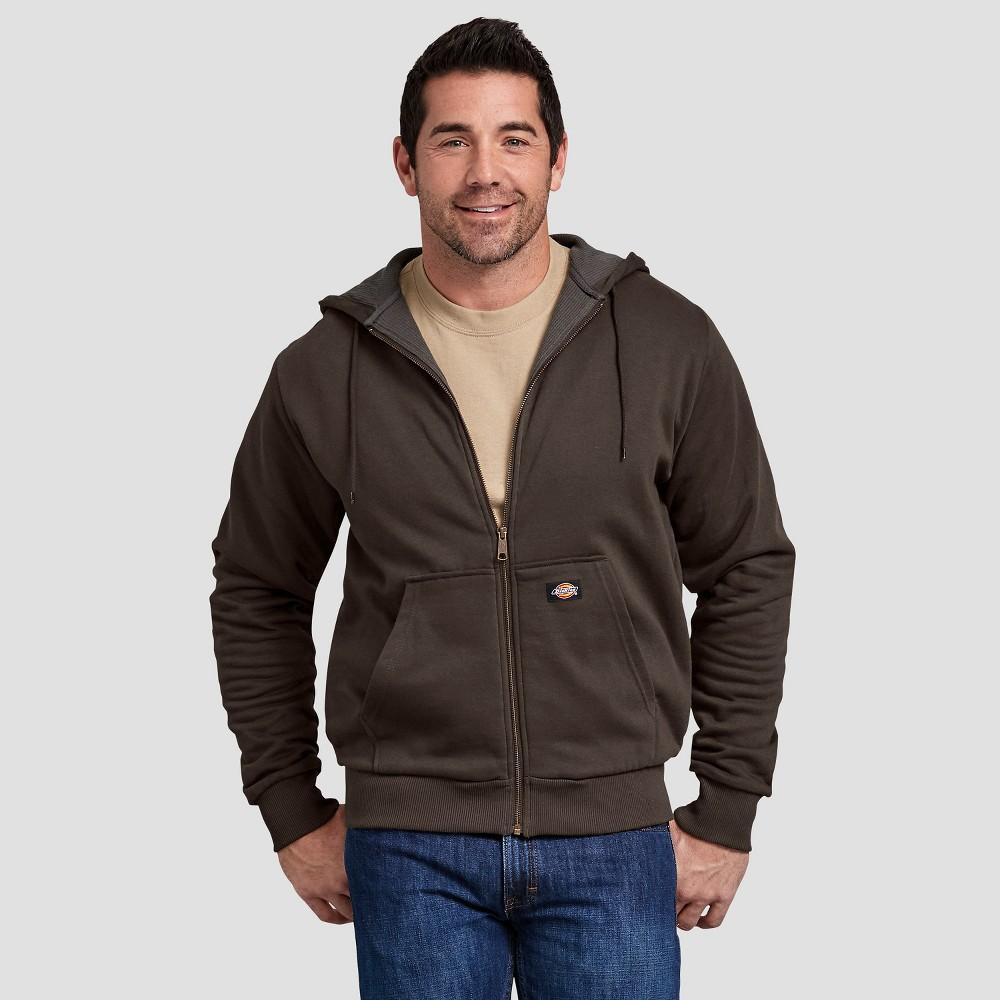 Dickies Men's Thermal Lined Fleece Hoodie- Dark Brown L