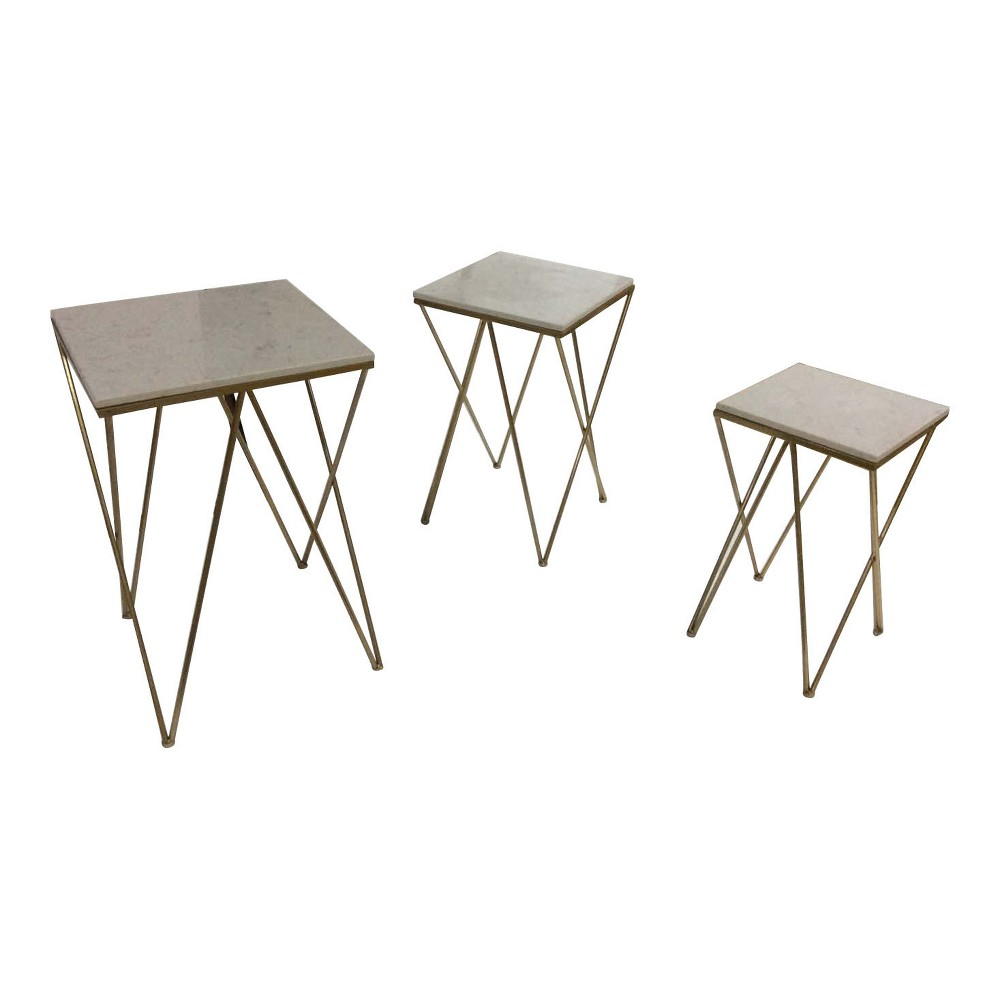 Modern Set Of 3 Faux Marble Accent Tables Gold - ZM Home