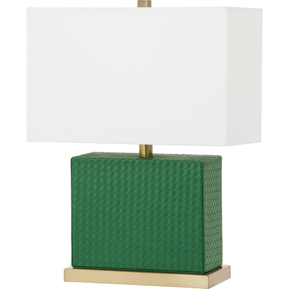 Delia 20.5Inch H Faux Woven Leather Table Lamp Dark Green - Safavieh