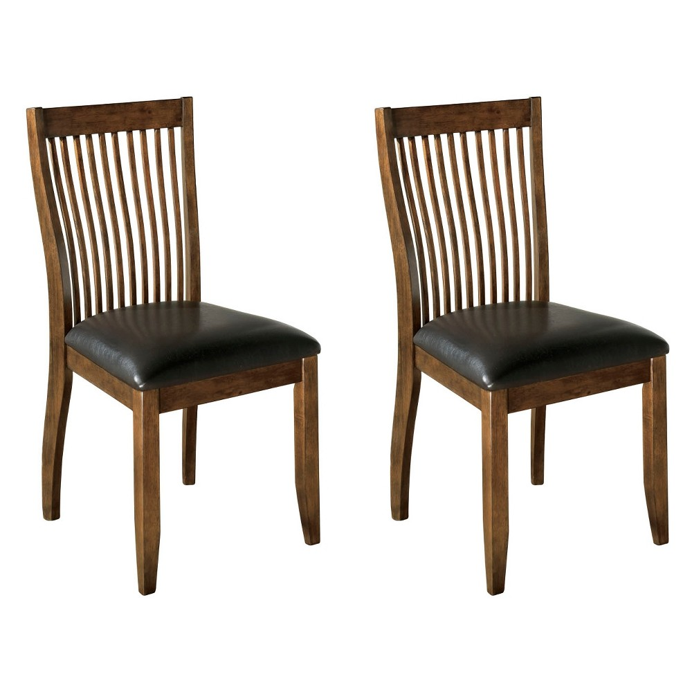 Image of 2pc Stuman Dining Upholstered Side Chair Brown - Signature Design by Ashley
