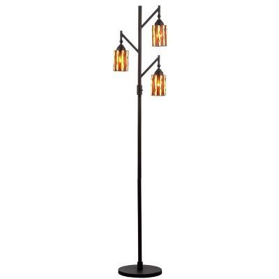 "71"" Clark Tiffany Multi Light Floor Lamp (Includes LED Light Bulb) Bronze - JONATHAN Y"