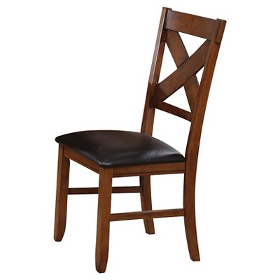 Apollo Side Dining Chair (Set of 2)- Walnut and Espresso Faux Leather - Acme