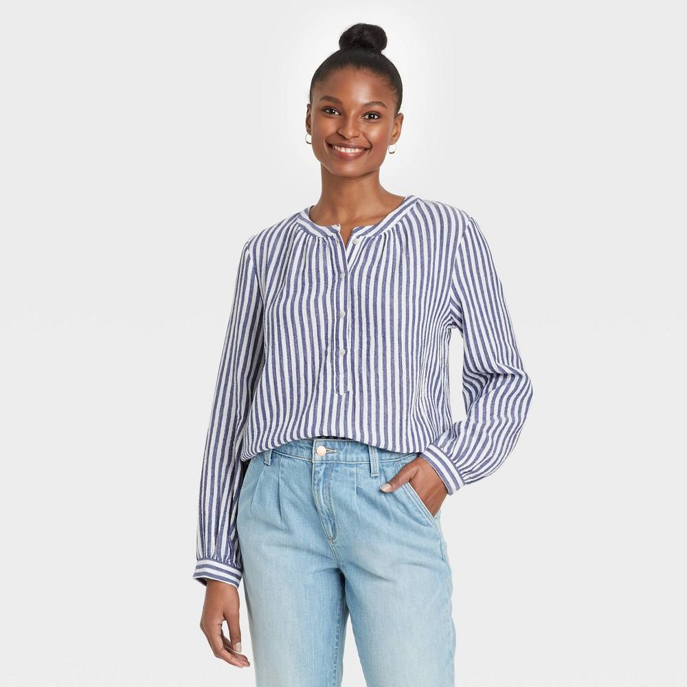 Women 39 S Striped Long Sleeve Half Placket Blouse Universal Thread 8482 Blue Xxl