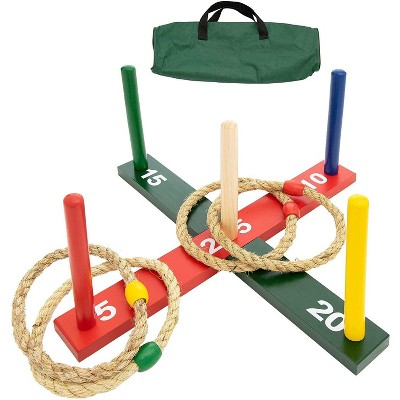 WE Games Rope Ring Toss Yard Game - Throwing Carnival Quoits Set - Solid Wood