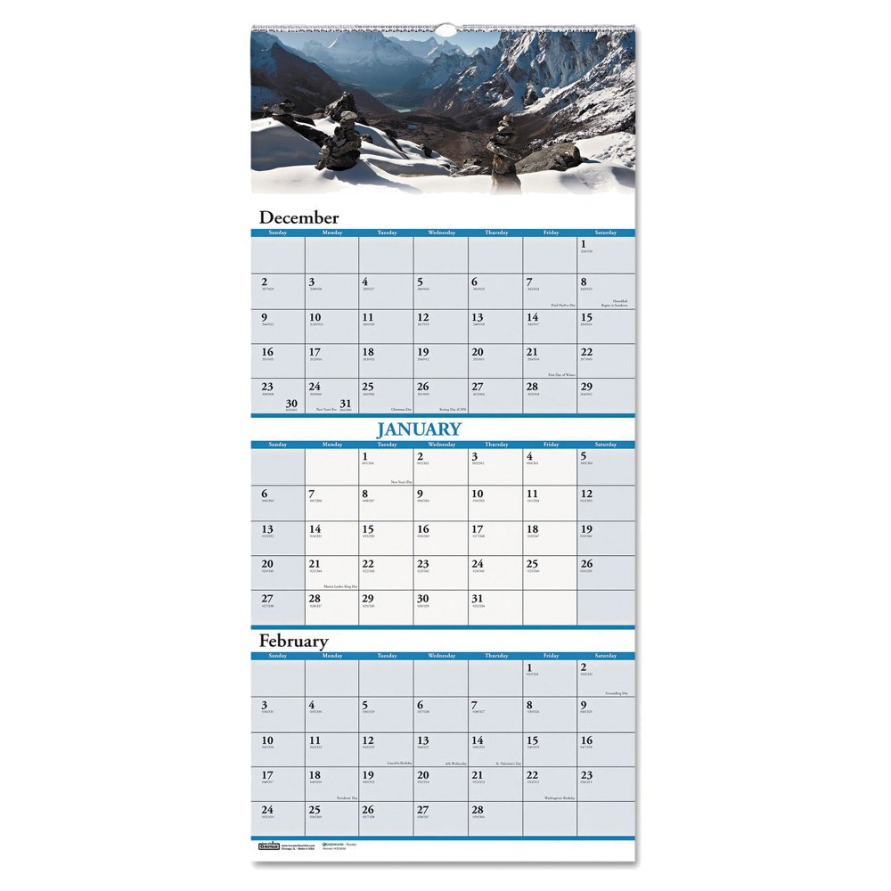 House of Doolittle Recycled Scenic Landscapes Three-Months/Page Wall Calendar 12.25x26 2017-2019, White/Blue