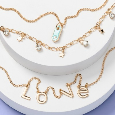 Girls' Love and Geo Shape Layered Necklace Set - More Than Magic™