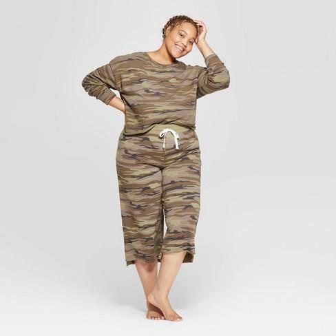 Women's Camo Print Plus Size Cropped Wide Leg Lounge Pants - Colsie™ Beige 2X - image 1 of 3