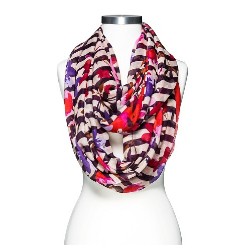 Women's Floral Striped Scarf - Merona™ Purple - image 1 of 2