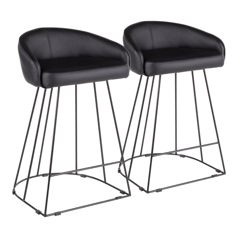 Image of Set of 2 Canary Contemporary Counter Stool Black - Lumisource