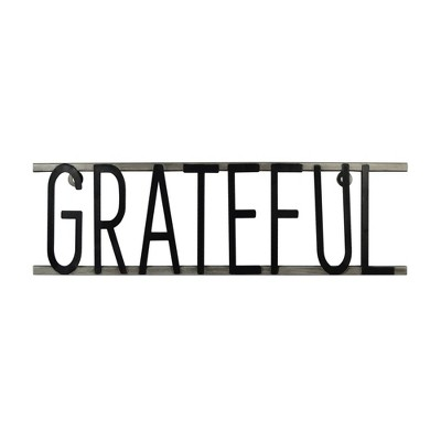 "17"" x 5"" Grateful Decorative Metal Wall Sign Black - Prinz"
