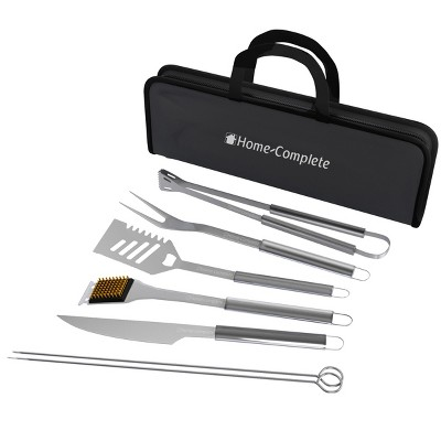 Hastings Home BBQ Grill Tool Set - Stainless Steel, 7 Pieces