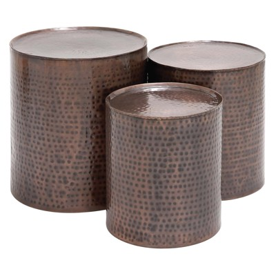 Metal Cylinder Accent Tables (Set of 3) Brown - Olivia & May