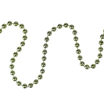 "Northlight 15' x 0.25"" Shiny Metallic Lime Green Beaded Artificial Christmas Garland - Unlit"